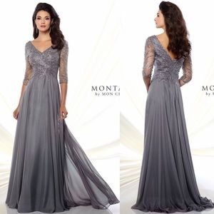 Montage by Mon Cheri Illusion sleeve MOB dress